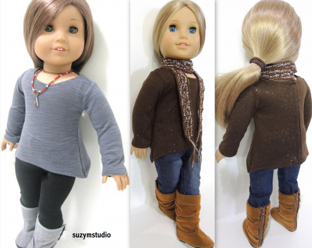 Asymmetrical T-shirt pattern for 18 inch dolls-SuzyMStudio