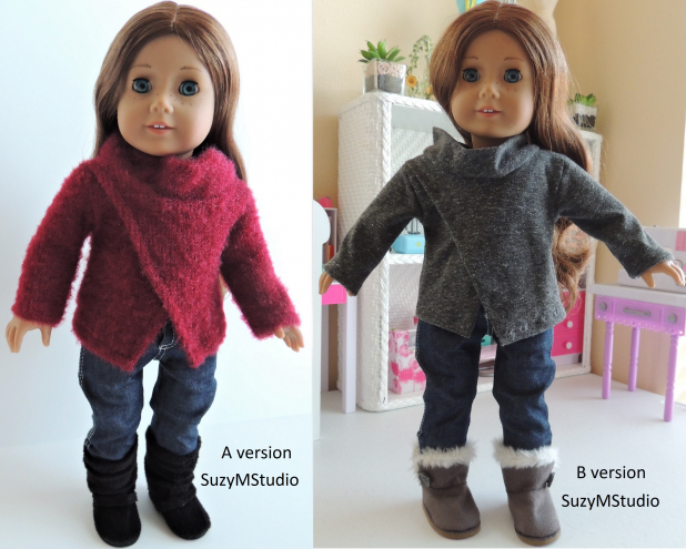 "Front Wrap Sweater Sewing Pattern for 18"" dolls SuzyMStudio"