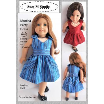 "Monika Party Dress Pattern 18"" doll  SuzyMStudio"