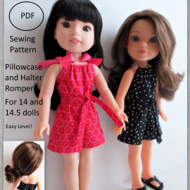 Pillowcase and Halter Romper for 14 and 14.5 dolls suzymstudio