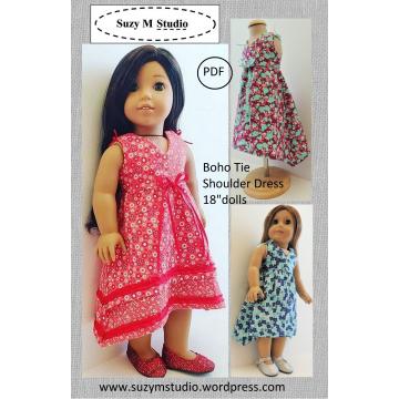 Boho Tie Shoulder Dress 18 inch Dolls