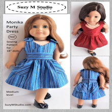 "Monika Party Dress Sewing Pattern 18"" doll"